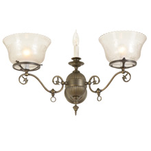 Stunning Victorian 3-light Sconce w/ Etched and Cut glass shades c1905