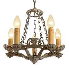 Ornate 5-Candle Polychrome Chandelier by Riddle c1929