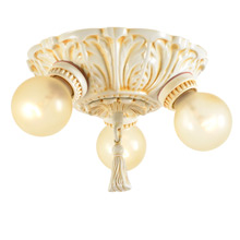 Romance Revival 3-Bulb Antiqued Ivory Cluster c1927