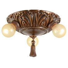 Classical Revival 3-Bulb Antique Copper Cluster c1927