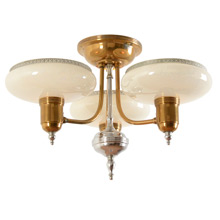 Stylish Art Moderne Semi-Flush distributed by Mid-West Co c1937