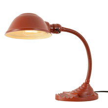 Adjustable Cast Iron Desk Lamp w/ Crimson Finish c1930