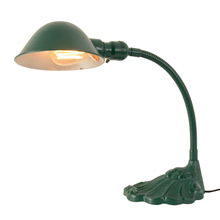Adjustable Cast Iron Desk Lamp w/ Green Finish c1930
