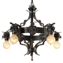Handsome Heraldic Chandelier w/ Replicated Polychrome c1930