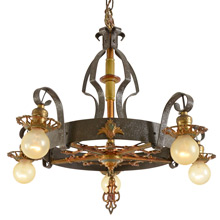 5-Light Wrought Strap Chandelier c1928