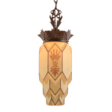 Fantastic Tiered and Stenciled Art Deco Pendant  c1930