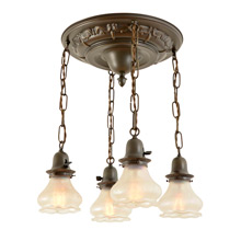 Large and Lovely 4-Light Shower w/ Verre de Soie shades c1920