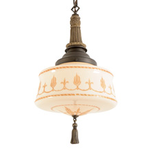 Classical Revival Pendant w/Decorated Schoolhouse Shade C1928