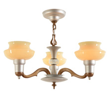 3-Light Cup-Shade Chandelier c1935