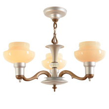Classic 3-Light Cup-Shade Chandelier c1935
