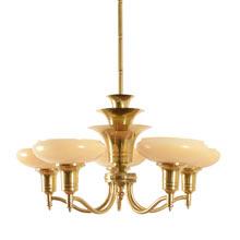 Art Deco Brass Cup-Shade Chandelier c1930
