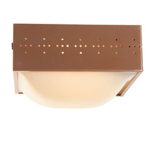 Geometric Mid-Century Copper-Toned Flush Mount Fixture c1945
