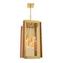Classically Contemporary 8-Light Oak & Brass Chandelier C1972