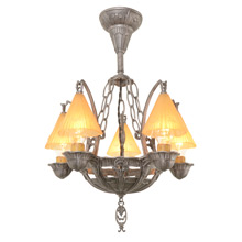 Romance Revival Semi-Flush Chandelier W/ Smoke Bells C1934