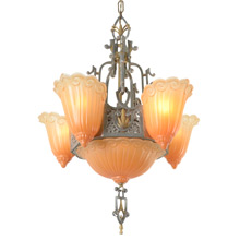 "6- Light Sears ""Fleur-De-Lis"" Chandelier By Lincoln, C1934"
