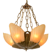 """Fleurette""Line Slipper-Shade Chandelier, C1934"