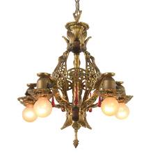 Richly Detailed 5-Light Revival Chandelier, C1928