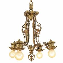 Cast Brass Revival-Style Chandelier w/ Floral Motif, C1925