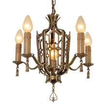 Impressive Gilt and Polychrome 6-Light Chandelier C1925