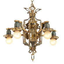 Cast Brass 5-Light Revival Chandelier W/ Egyptian Motif c1925