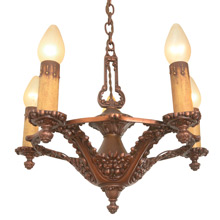 Copper-Toned Floral Revival-Style 5-Light Chandelier, C1929