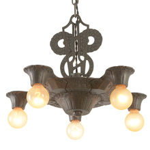 Handsome and Hammered 5-Light Chandelier, C1937