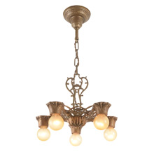 Ornate Polychrome Revival-Style 5-Light Chandelier, C1929