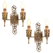 Pair of Impressive and Ornate Romance Revival Wall Sconces c1928