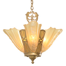 Slipper Shade Chandelier W/ Mica Panels C1931