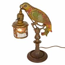 Rare Romance Revival Parrot Table Lamp C1925