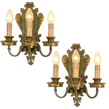 Impressive Classical Revival Sconces w/ Original Polychrome C1925