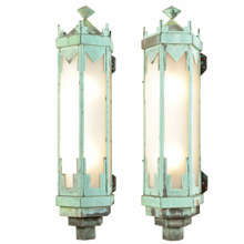 Pair of Monumental Art Deco Copper Sconces c1928