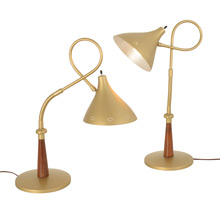 Pair of Mid-Century Table Lamps W/ Teak Details c1965