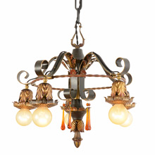 "5-Drop Wrought Strap Chandelier by Diamond ""F"" Lighting c1928"