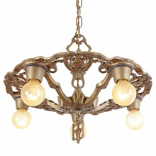 Polychromed 5-Light Heraldic Chandelier c1929