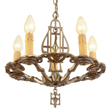 Unique Polychromed 5-Candle Heraldic Chandelier c1929