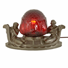 Lover's Gondola Radio Lamp w/ Ruby Red Shade c1930