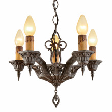 Stunning Deco 5-Light Candle Chandelier c1928