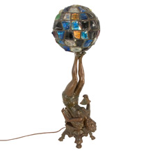 Late Victorian Figural Lamp W/ Opalescent Jeweled Shade C1910