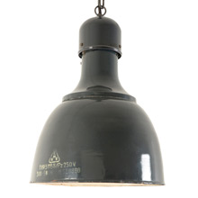 Large Gray Enamel Warehouse Pendant c1960s
