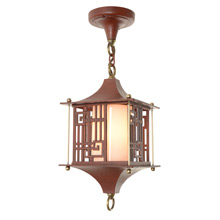Quality Chinese-Themed Cast Lantern Pendant in Antiqued Ming Red, C1950s