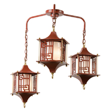 3-Lantern Chinese-Themed Chandelier c1950s
