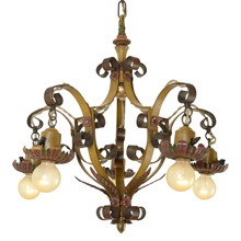 Exceptional Revival-Style Strap Chandelier, C1925