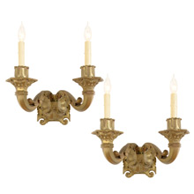 Pair of Cast Brass Classical Revival Double Wall Sconces C1920