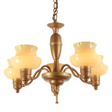 Duo-Toned 5-Light Cup-Shade Chandelier c1940