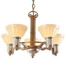 Transitional 5-Light Cup Chandelier c1935