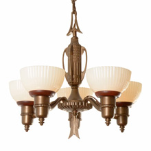 Transitional Cup Chandelier w/ Archery Motif c1935