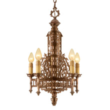 Intricate 5-Light Chandelier by Moe Brigdes c1928