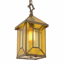 Distinctive Entry Lantern w/ Textured Amber Glass c1920
