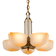 Five-Light Beaded and Polychromed Slipper Chandelier c1935